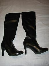 8 M Studio Paolo Ladies Shoes Tall Faux Leather black Boots High Heels Zipper 8M