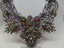 SPECTACULAR WATERMELON NAVETTE CRYSTAL RUNWAY STATEMENT NECKLACE!