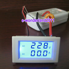 Blue LCD AC volt & amp combine 2 in 1 panel meter 300V 50A for 110V 220V 240V