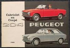 PEUGEOT 204 Cabriolet & Coupé voiture brochure 1969 néerlandais