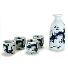 "Japanese Sake Gift Set ""Ryu"" Blue Dragon Porcelain 1 Bottle 4 Cups/Made in Japan"