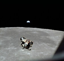 Apollo 11 Lunar Module Over Moon Earth in Distance 8x10 Photo Photograph Picture