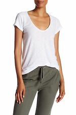 NWT JAMES PERSE Sz1(XS/S) HIGH GAUGE DEEP CAP SLEEVE JERSEY TEE WHITE