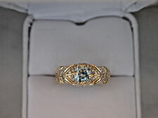 ANTIQUE RUSSIAN STYLE 14K Yellow Gold Engagement RING with 3/4Ct Blue Diamond