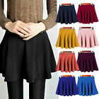 New Ladies Womens Stretchy Waist Jersey Pleated Skater Flared Mini Skirt