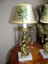 2VTG FRENCH CHERUB CANDELABRAS CRYSTAL TABLE LAMPS LIGHT FIXTURES CHANDELIERS