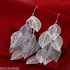 UK Ladies *925 Sterling Silver Shiny Gift Party Leaves Long Jewellery Earrings