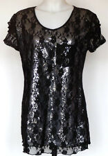Cocomo Fancy Black Lace Overlay Silver Sequin S/S Top Blouse Shirt L