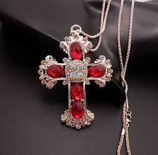 Fashionable Red Cross Pendant sweater chain crystal Long necklace FF91
