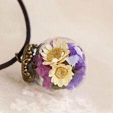 Fashion Women Real Dried Flower Wishing Bottle Glass Pendant Necklace Jewelry