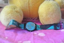Swatch Watch 9253 - P 755 Vtg Turquoise With Gold Roman Numerals Water Resistant