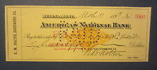 Old 1899 - HELENA MONTANA Bank Check - Revenue Stamp - A.M. Holter Hardware Co.