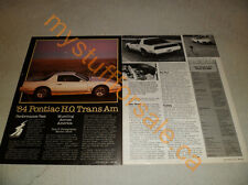 1984 PONTIAC TRANS AM H.O. WS6 ARTICLE / AD