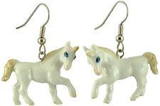 JE106 - Unicorn Earrings - Surgical Steel Porcelain Dangle - little Critterz