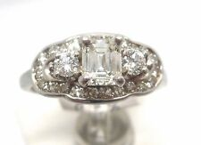 14K WHITE GOLD .50 TCW SI2 G COLOR EMERALD CUT ROUND DIAMOND ENGAGEMENT RING