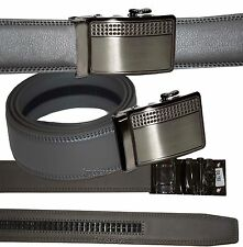 New Men's Belt, Leather Dress Belt w/ Auto Lock Sliding Buckle, Up to 38 inches