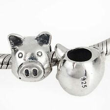 Genuine Solid 925 Sterling Silver Pig Charm Bead