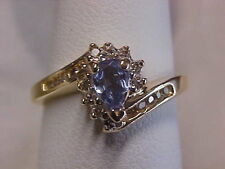 *ESTATE*PEAR SHAPED TANZANITE & DIAMOND HALO RING 14K YELLOW GOLD sz7.25 BUY NOW