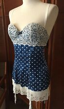 Fredericks of Hollywood BLUE POLKA DOT Lace Up Corset Top Bustier GARTERS S
