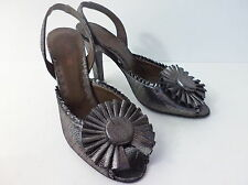 ETRO SILVER OVER BLACK LEATHER SLINGBACK OPEN TOE EUR 36.5 US 6M MADE IN ITALY