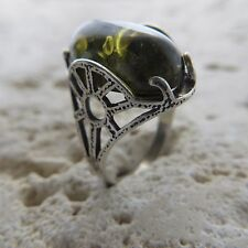 Size 7 1/2, Size O 1/2, Size 56, Green, BALTIC AMBER Ring, STERLING SILVER #1793
