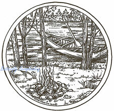 Canoe Lake Campfire Scene Wood Mounted Rubber Stamp Northwoods Rubber Stamp New