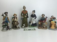 Lot of 6 Large Porcelain Bisque Style Figurines of Elderly People