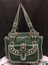 Isabella Fiore handbag Purse Green Leather, Embroidery