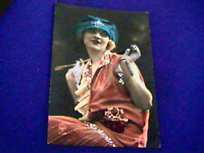 Antique French 1920s Flapper Photo Postcard-hand highlighted-Fashion!-unused