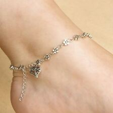 Tibetan Silver Plated Daisy Chain Flower Anklet/Ankle Bracelet With Heart Charm