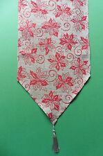 TAVOLA DI NATALE RUNNER-naturale con Rosso Glitter Stella di Natale - 180cm x 35cm