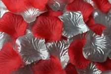 100 x SILVER and RED SILK ROSE PETALS WEDDING CONFETTI TABLE DECOR UK SELLER