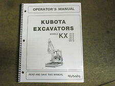 Kubota KX41 -2 KX61 KX91 -2 KX121 KX161 -2 excavator owners & maintenance manual