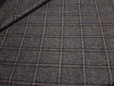 Windowpane 100% Wool Blue Tweed Jacket Craft Upholstery Fabric 2.50M
