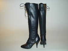 Vintage Wild Pair Black Leather Lace Up Granny High Heel Knee Boots 5.5 Brazil