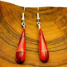 Handmade Red Jasper Tear Drop Alpaca Silver Earrings