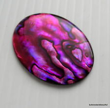 Large Red (Pink) abalone / paua shell cabochon 40x30mm flat back