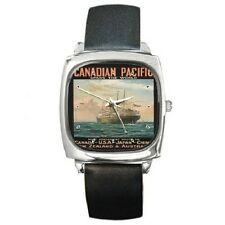 CANADIAN PACIFIC EMPRESS OF SCOTLAND VINTAGE POSTER REPRO SQUARE WRISTWATCH