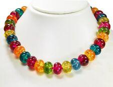 Wunderschöne Edelsteinkette aus Bergkristall  in Radform Bunt gefärbt