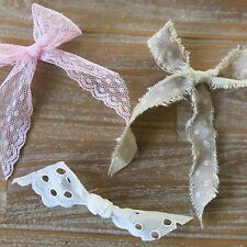 9 x shabby chic bows and ties for craft pretty rustic pink white lace polka dot