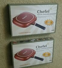 LOT 2 new Chefel Flip N Cook Double Sided Pressure Grilling Frying Pans Cookware