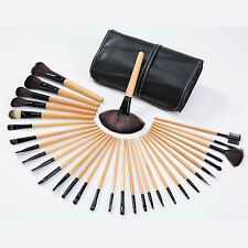 Professional 32 Piece Kabuki Make Up Brush Set and Cosmetic Brushes Case Wood