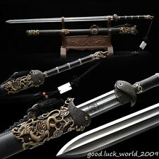 Rare Boutique Chinese Sword Folded Pattern Steel Copper Ebony Sheath Razor Sharp