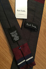 Paul Smith MAINLINE COLLECTION MULTISTRIPE 5cm Square End Narrow Tie 100% Silk