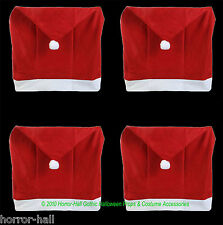 SET-4-Christmas Holiday Party RED SANTA HAT CAP CHAIR COVERS Kitchen Decorations