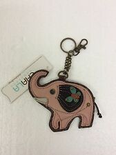Chala Pink Elephant Key Chain Charm FOB Ring Faux Leather Coin Purse New