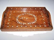 """*EXCEPTIONAL ESTATE: Antique Sheesham Wood Bone Inlay Letter Tray India 12"""" x 8"""""""