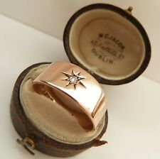 ANTIQUE GENTS 9CT ROSE GOLD & DIAMOND PINKIE/ WEDDING RING BAND CHESTER 1908