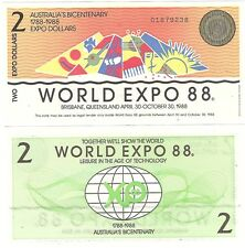 Australia World Expo 2 Dollars 1988 Brisbane NEW UNC Uncirculated Banknote