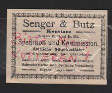 Costanza, Pubblicità 1912, Senger & Butz Corriere